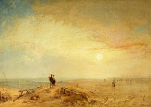 James Baker Pyne - Lancaster Sands, Morecambe Bay, Shrimping