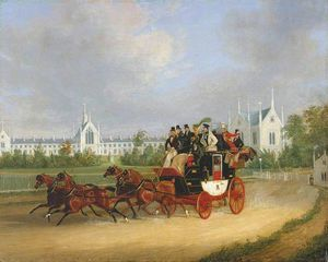 James Pollard - The -tally-ho- London - Birmingham Stage Coach Passing Whittington College, Highgate