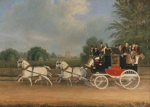 James Pollard - The London-faringdon Coach Passing Buckland House, Berkshire
