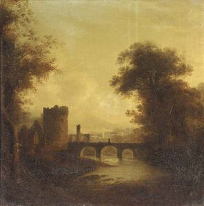 James Stark - A Ruined Abbey And Bridge In A River Landscape With A Town Beyond