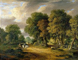 James Stark - A View Through Trees With A Horseman And Other Figures, Cattle And Sheep