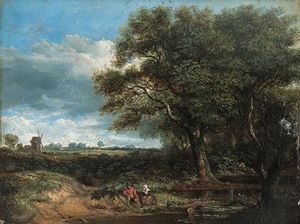 James Stark - A Wooded Landscape With Countryfolk Resting By A Pond