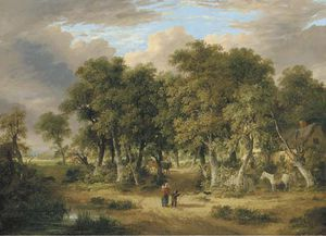 James Stark - A Wooded Landscape With Figures On A Track, A Cottage Beyond