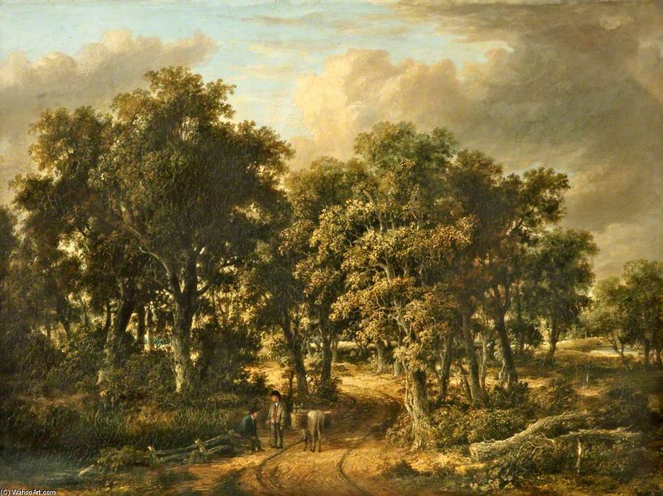 A Wooded Landscape by James Stark (1794-1859, United Kingdom) | Paintings Reproductions James Stark | WahooArt.com