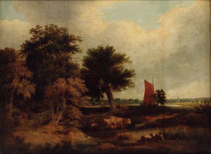 James Stark - Cattle Watering In A Wooded Landscape, With A Wherry Near Norwich