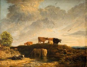 James Stark - Cows At A Watering Place
