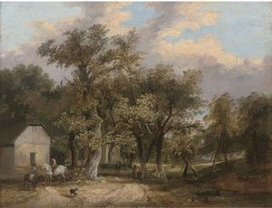 James Stark - Figures And Animals Before Cottages In A Wooded Landscape