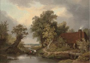James Stark - Figures In A Punt By A Cottage