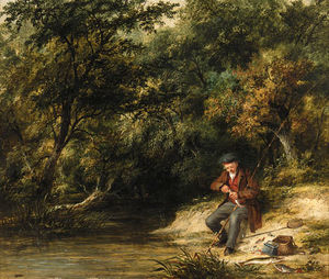 James Stark - Fishing - A Scene At Magpie Island, Henley-on-thames