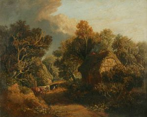 James Stark - Landscape With A Path Between Cottages