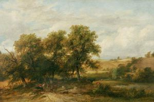 James Stark - Landscape With A Road Winding Through Trees With Figures
