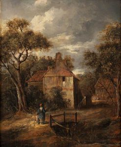 James Stark - Landscape With Figures And Cottages