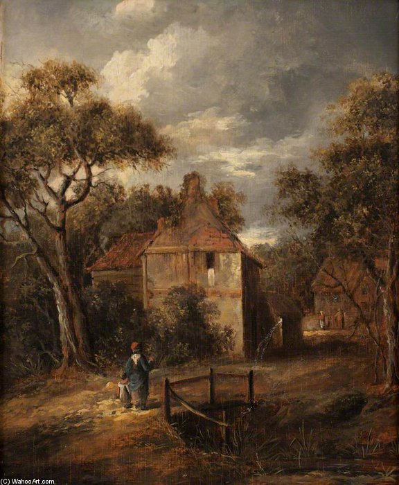 Order Museum Quality Copies | Landscape With Figures And Cottages by James Stark (1794-1859, United Kingdom) | WahooArt.com