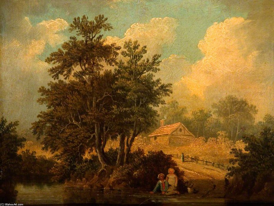 Landscape With Figures At A Stream by James Stark (1794-1859, United Kingdom) | Reproductions James Stark | WahooArt.com