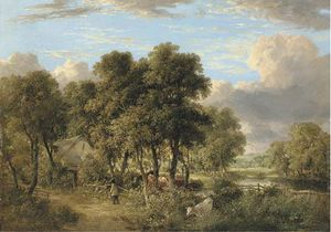 James Stark - On The Yare - A Wooded River Landscape With Cattle, A Figure And A Cottage