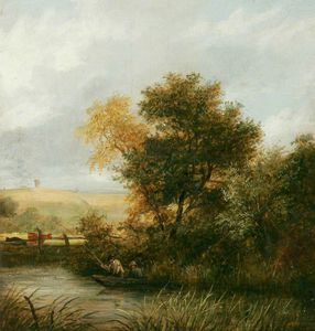 James Stark - River Scene With Men Fishing From A Boat