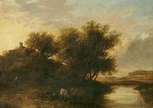 James Stark - River Scene, Cattle In Foreground