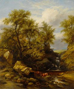 James Stark - Rocky Landscape With Waterfall And Cattle