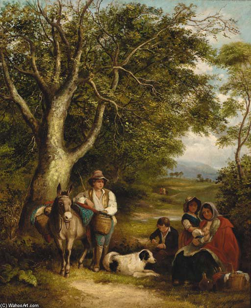 Order Art Reproductions | Travellers Resting On A Wooded Track by James Stark (1794-1859, United Kingdom) | WahooArt.com