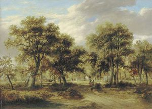 James Stark - View Of Richmond Park With Figures On A Path And Cattle Beyond