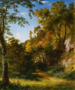 James William Giles - Woodland Path With Figures