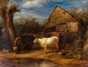 John Linnell - The Cow Yard