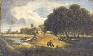 John Sell Cotman - A Figure On Horseback With Cattle Watering By A River, A Windmill And Church Beyond