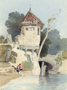 John Sell Cotman - A Garden House On The Banks Of The River Yare