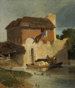 John Sell Cotman - Buildings On A River