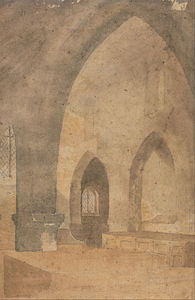 John Sell Cotman - Interior Of A Church, Looking West From South Aisle