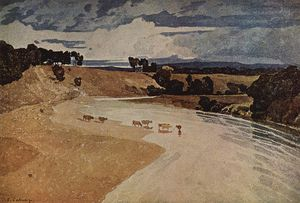 John Sell Cotman - River Landscape With Cattle Herd