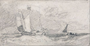 John Sell Cotman - Sailing Wherries And Boats In A Choppy Sea