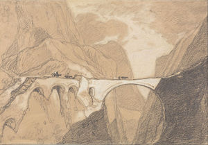 John Sell Cotman - Travellers Crossing A Bridge Over An Alpine Gorge
