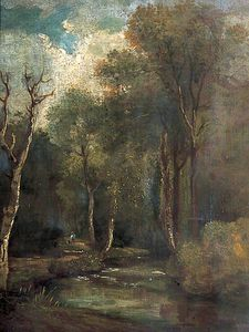 John Sell Cotman - Woodland Scene With A Stream, A Man And A Dog