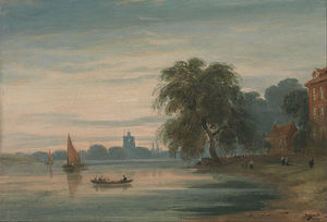 John Varley I (The Older) - A View Along The Thames Towards Chelsea Old Church