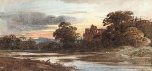 John Varley I (The Older) - Castle Ruins At Dusk