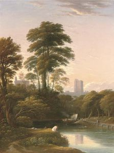 John Varley I (The Older) - The Bank Of The Thames With Figures In The Foreground And Windsor Castle Beyond