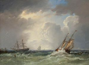 John Wilson Carmichael - fishing Boats at Sea off the Coast, Storm Approaching