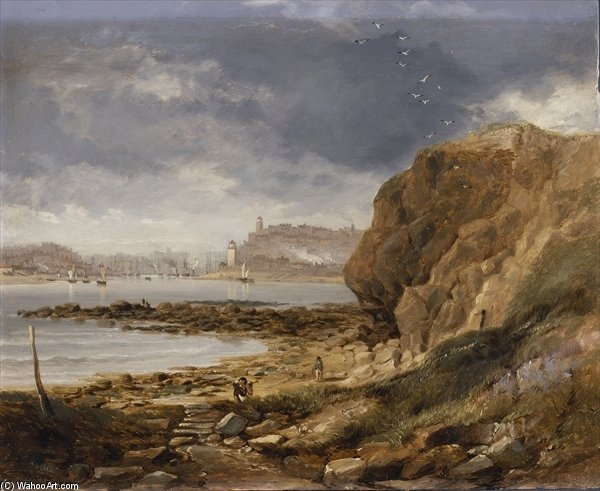 Buy Museum Art Reproductions | Shields From The Harbour Mouth by John Wilson Carmichael (1800-1868, United Kingdom) | WahooArt.com