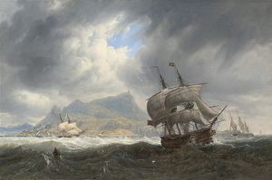 John Wilson Carmichael - Shipping In A Heavy Swell Off Palermo