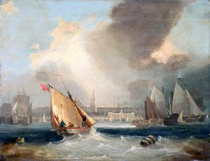 John Wilson Carmichael - Shipping Off George's Baths, Liverpool