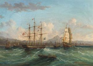 John Wilson Carmichael - Shipping Passing In The Roadstead