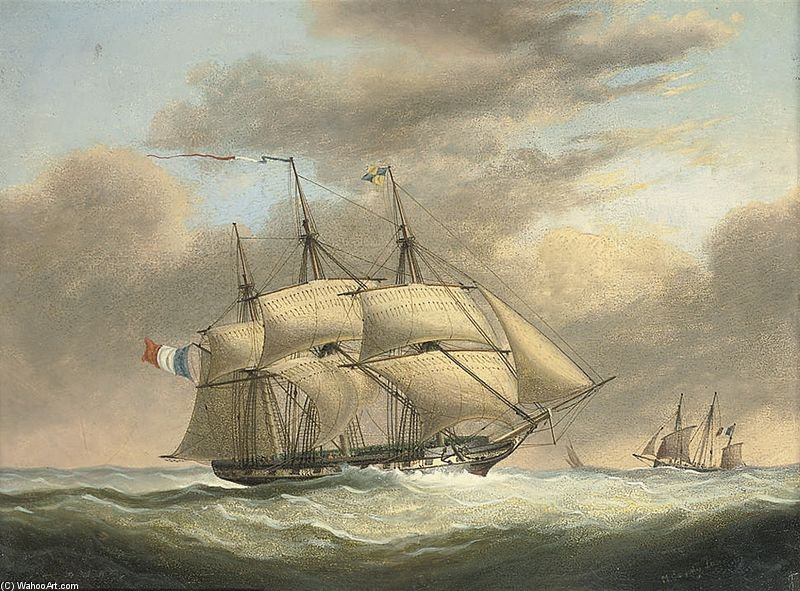 A French Frigate In A Stiff Breeze Offshore by Nicholas Matthew Condy (1816-1851) | Oil Painting | WahooArt.com