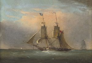 Nicholas Matthew Condy - A Packet In The Channel (illustrated); And A Royal Naval Two-decker Running Inshore