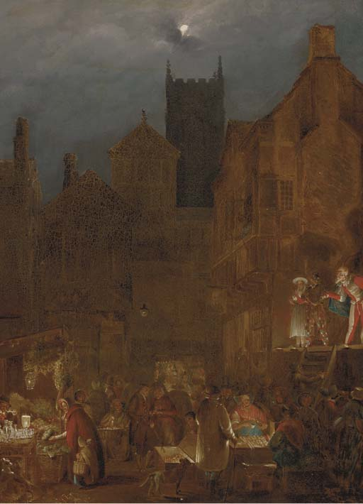 Figures In A Moonlit Market Before An Open Theatre by Nicholas Matthew Condy (1816-1851) | Museum Quality Reproductions | WahooArt.com