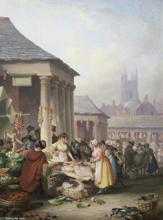 Buy Museum Art Reproductions | Fish Market, Plymouth by Nicholas Matthew Condy (1816-1851) | WahooArt.com