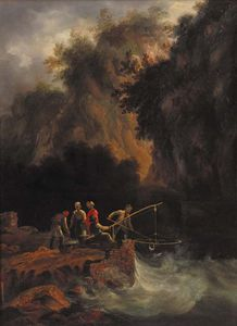 Nicholas Matthew Condy - Fishermen Netting Fish Off A Rocky Ledge In A Mountainous Wooded Landscape