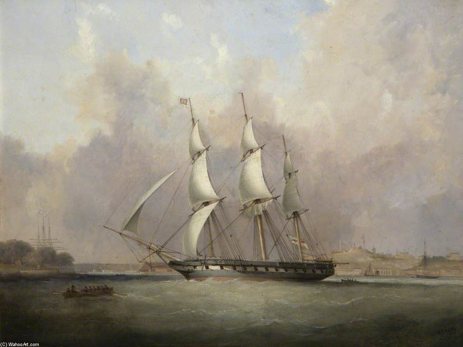 Hms `thetis` At Mount Wise, Built At Devonport by Nicholas Matthew Condy (1816-1851) | Famous Paintings Reproductions | WahooArt.com