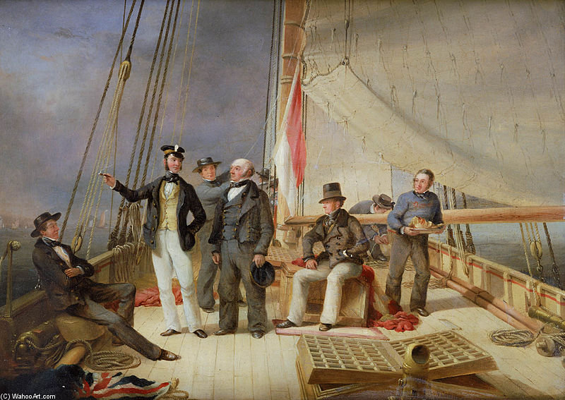 On Board The Yacht Alarm by Nicholas Matthew Condy (1816-1851) | Famous Paintings Reproductions | WahooArt.com