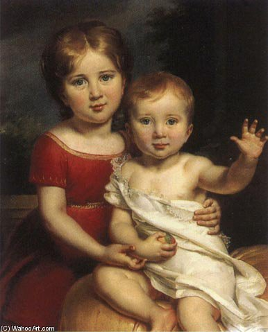 Prince Lev Gagarin And Prince Theophil Gagarin In Childhood by Paulin Jean Baptiste Guerin (1783-1855, France) | Famous Paintings Reproductions | WahooArt.com
